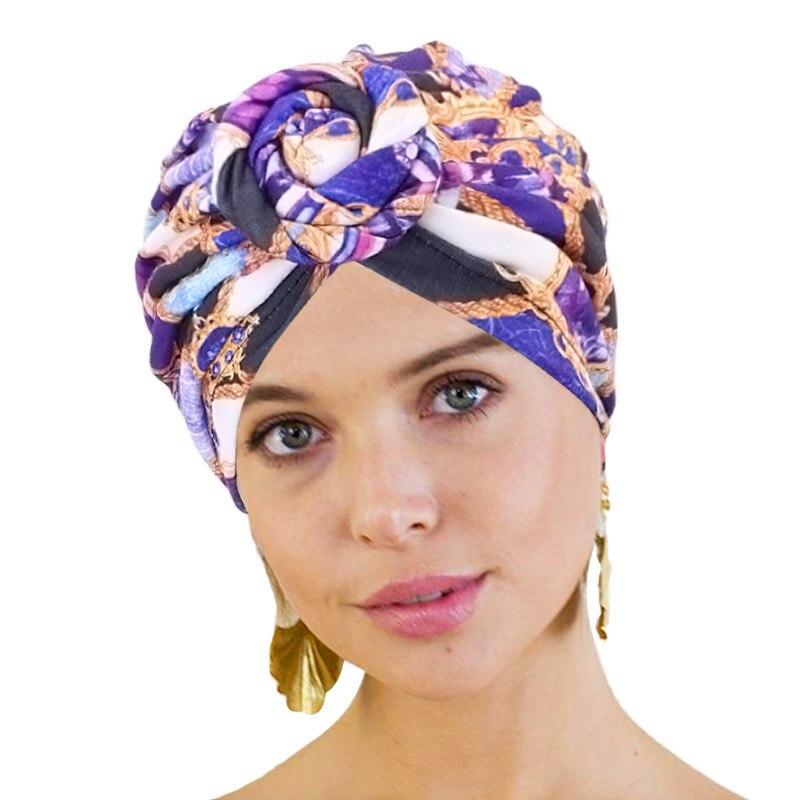 Turbante de algodão africano padrão flor turbante para mulher nó cabeça envoltório bandana chapéus quimio boné indiano árabe envoltório feminino cabeça cachecol