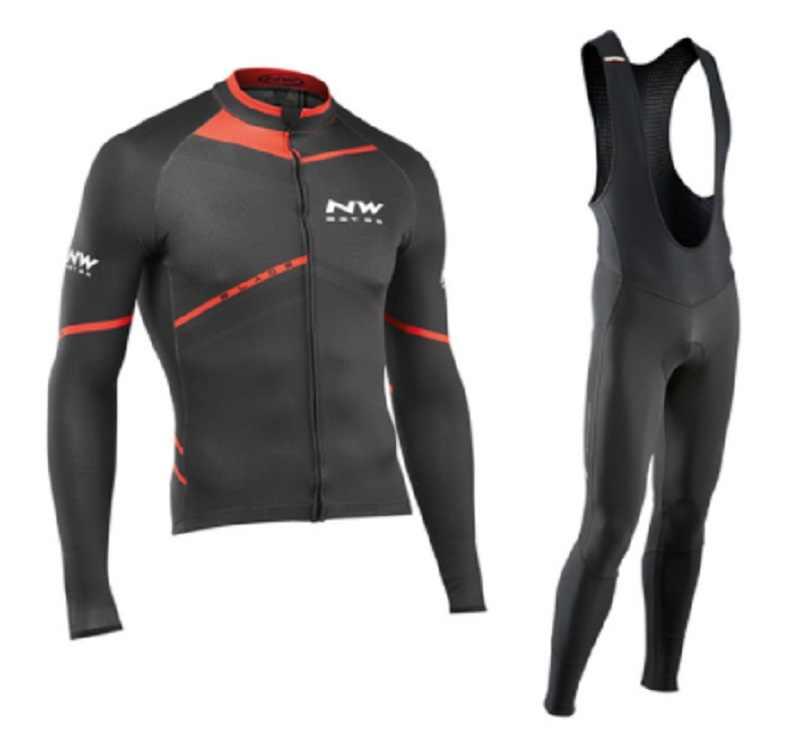 NW 2020 ארוך שרוול רכיבה על אופניים בגדי Northwave Pro צוות חולצה סט גברים לנשימה חליפת חיצוני ספורט MTB אופניים Paded בגדים