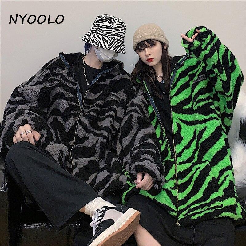 H57a7bbb6df654c8c82cc37c0c0588b75E NYOOLO 2020 Winter Streetwear Zebra Pattern Lamb Woolen Thicken Warm Zipper Hooded Padded Coats Women Men Harajuku Loose Outwear