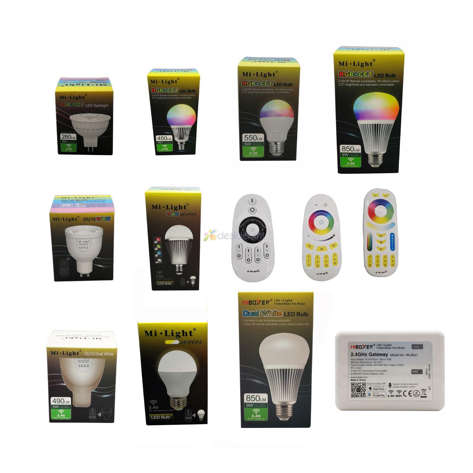Milight 2.4g lâmpada led mr16 gu10 e14 e27 lâmpada led 4 w 5 6 9 12 cct rgbw rgbww rgb + cct led luz sem fio wi-fi controle remoto