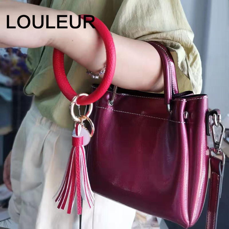 New Fashion PU Leather Round Key Chain Custom Circle Tassel Wristlet Bracelet Keychains Women Girl Key Ring Jewelry Gift in Bangles from Jewelry Accessories