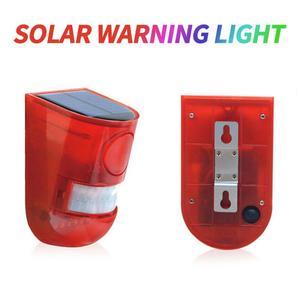 Luz de alarma Solar inalámbrica para exteriores lámpara de seguridad para jardín, con Sensor de movimiento, color rojo, inteligente