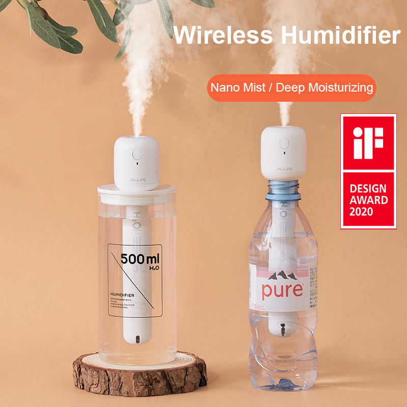 JISULIFE Mini Wireless Air Humidifier Portable Silent Aroma Diffuser USB Rechargeable Humidifier for Home Bedroom Car Difusor