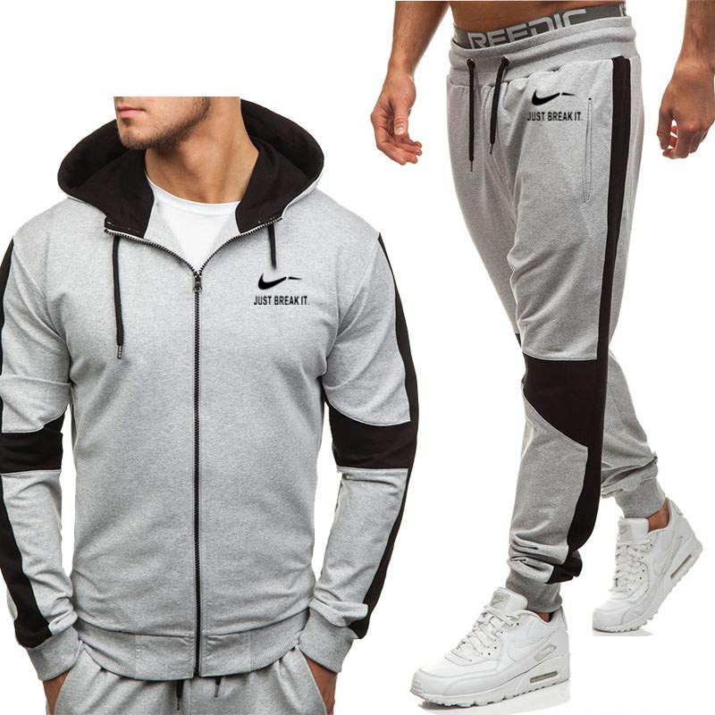 Hoodies Men JUST BREAK IT Printed New Fashion Casual Harajuku Hooded Fleece Warm Zipper Jacket Sweatshirt Sweatpants Suit 2pcs