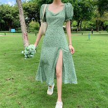 Summer Floral Dress Women French Style Puff Sleeve Chiffon Split Fairy Dress Sexy Elegant Korean Style Clothes New Arrival 2021