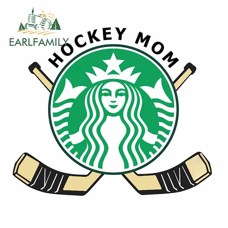 EARLFAMILY 13cm X 11cm For Starbucks Hockey Mom Car Stickers Decals Novelty Vinyl Graphic Decal Waterproof DIY Occlusion Scratch