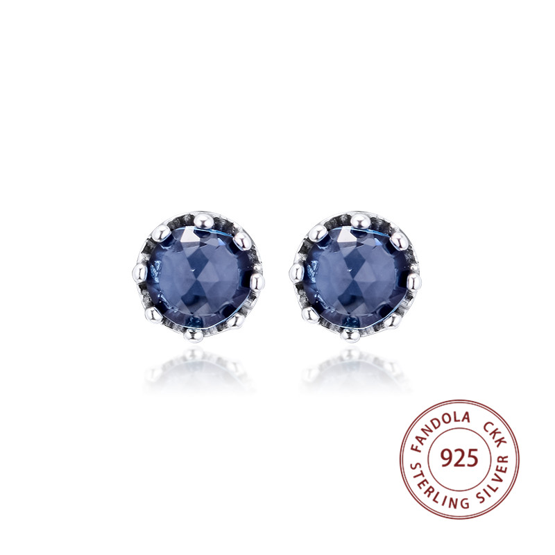 Us 10 13 35 Off 100 925 Sterling Silver Earring Blue Sparkling Crown Stud Earrings For Women Original Fashion Jewelry Penntes Free Shipping In