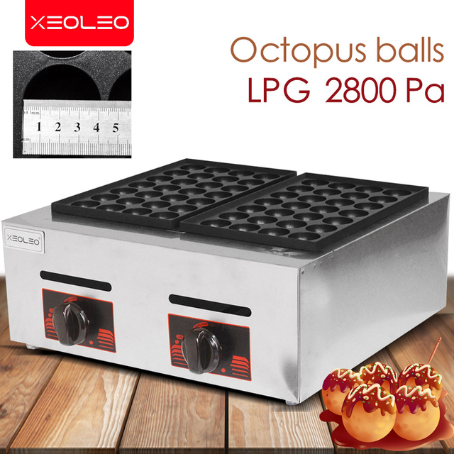 XEOLEO Double plates Gas Fish ball machine LPG Takoyaki ball Grill machine Commercial Octopus ball furnace
