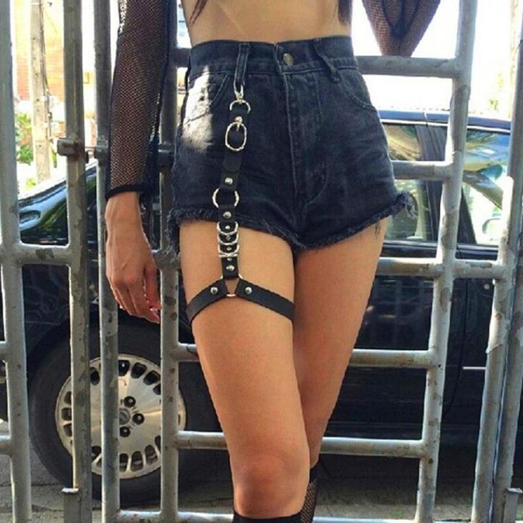 Elastic Lady Body Harness Thigh Garter Belt Leather Leg Strap Suspender 38cm