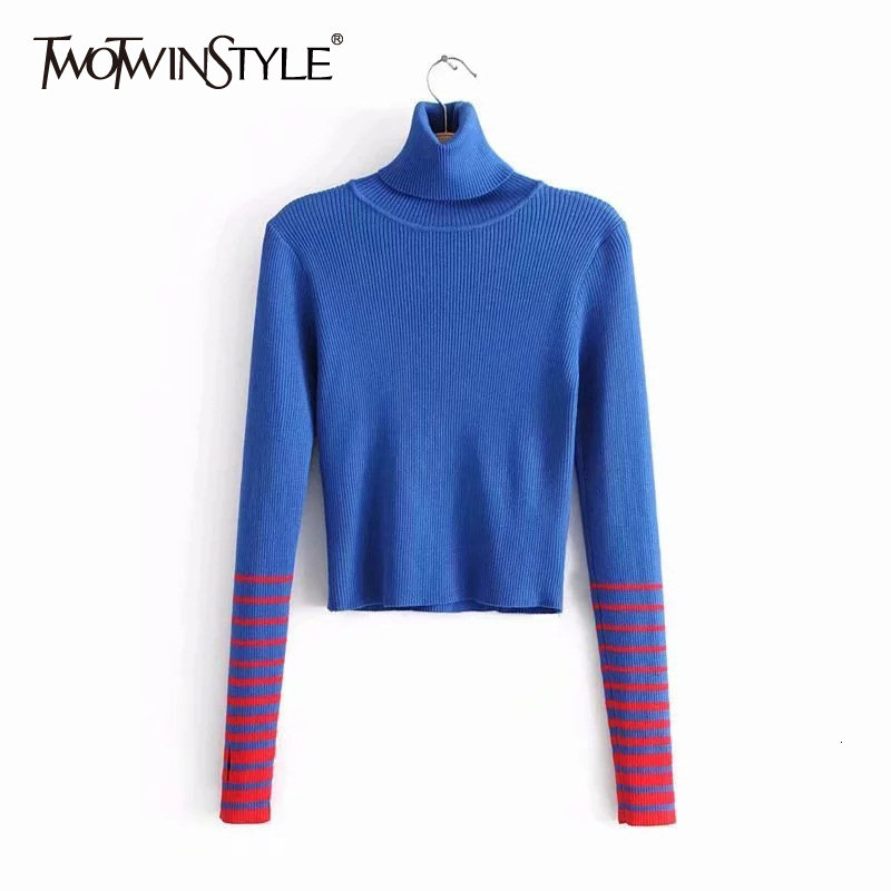 TWOTWINSTYLE Striped Patchwork Hit Color Sweaters For Female Turtleneck Long Sleeve Pullover Knitted Autumn Slim Women's Sweater