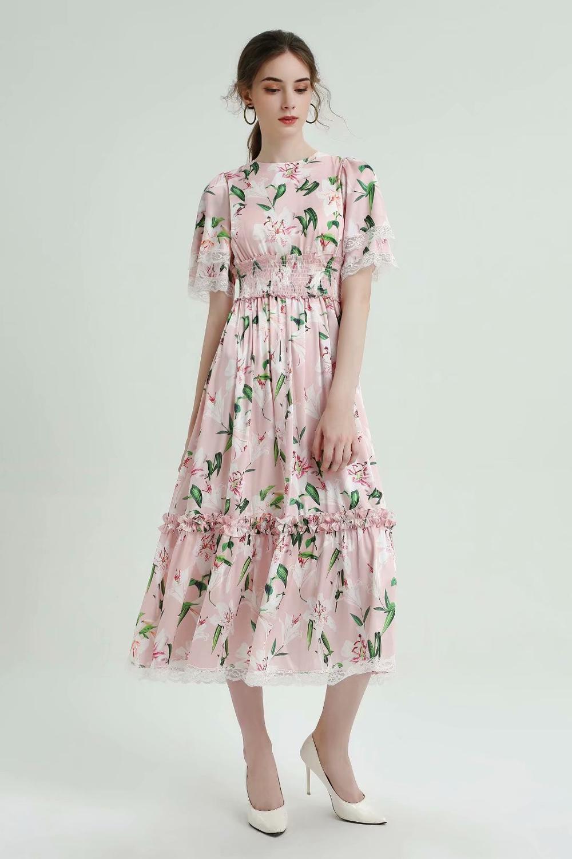 2019 sommer Neue Charming Printed Kurzarm Kleid 190603SL01-in Kleider aus Damenbekleidung bei  Gruppe 1