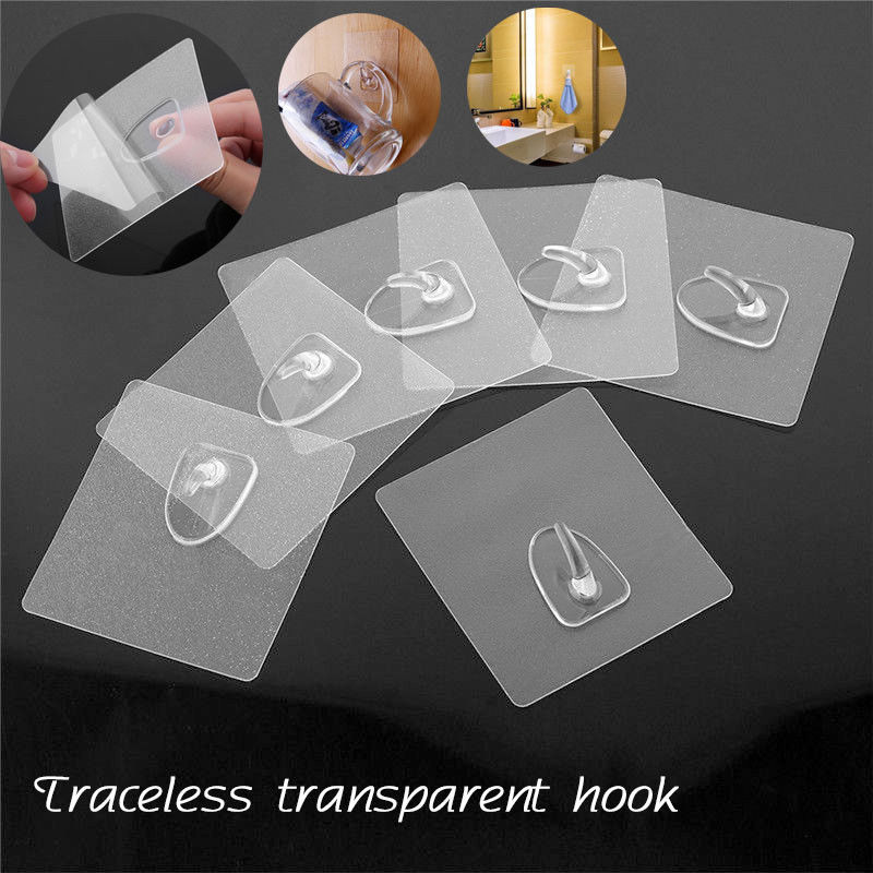 1/6/10pcs Strong Transparent Suction Cup Sucker Wall Hooks Adhesive Hook Anti-skid Wall Hook Kitchen Bathroom Accessories