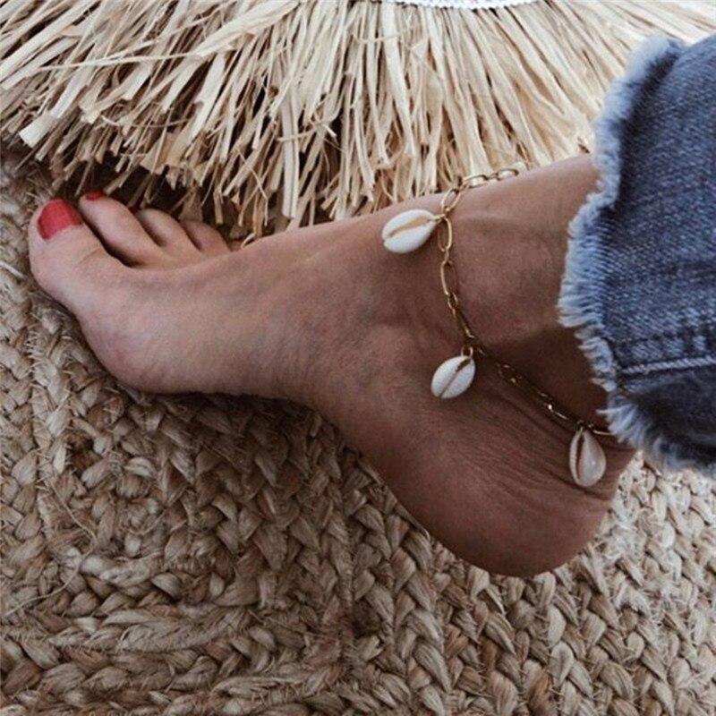 Letapi boêmio natural concha corda tornozeleiras para mulher pé jóias verão praia descalço pulseira tornozelo na perna para mulher