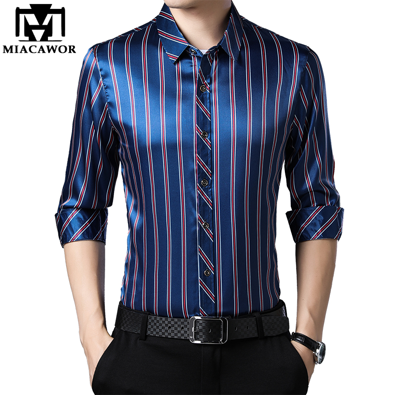 MIACAWOR New 2020 Casual Shirts Men Fashion Striped Long Sleeve Dress Shirt Men Slim Fit Camisa Masculina Plus Size 4XL C566