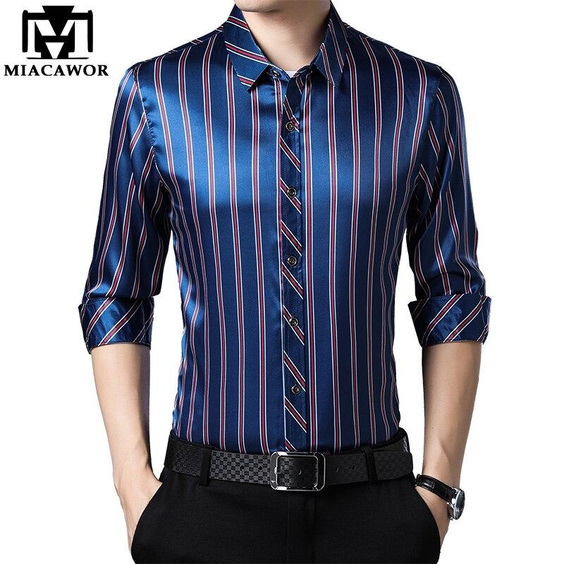 MIACAWOR nouveau 2020 chemises décontractées hommes mode rayé à manches longues robe chemise hommes coupe ajustée Camisa Masculina grande taille 4XL C566