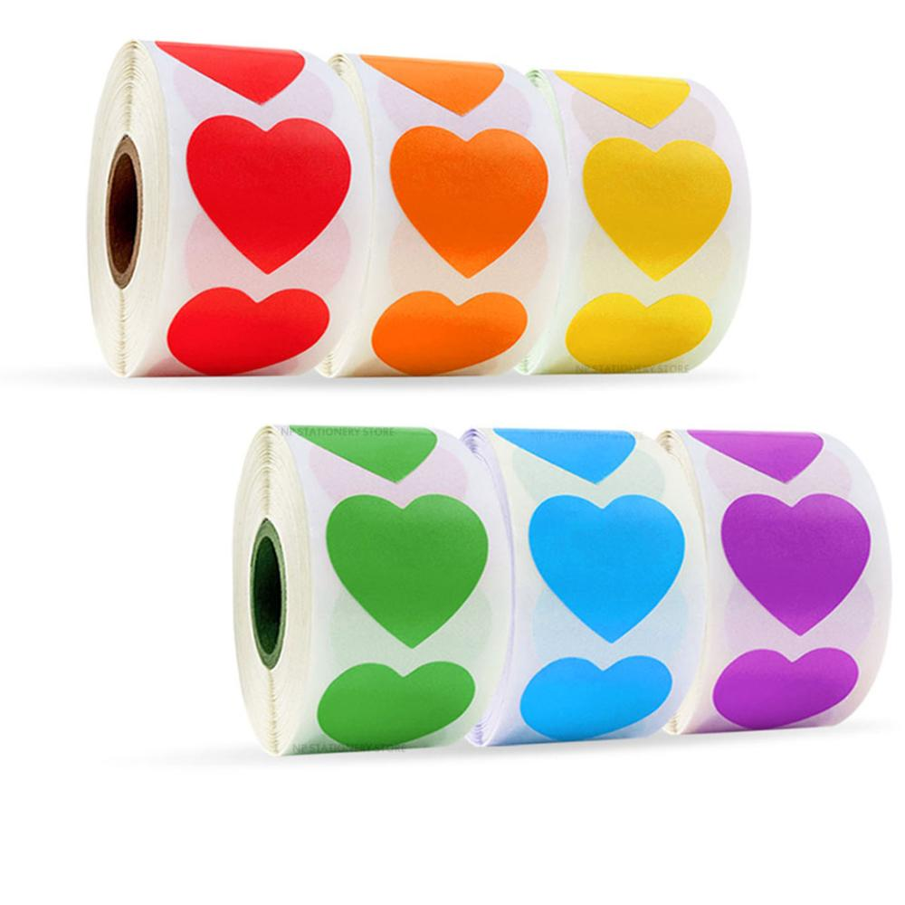 500pcs / Roll Blank Heart-shaped 9 Colors Of Colored Labels Stickers Envelope Boxes Packaging Decorative Stationery Stickers