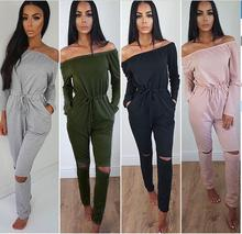 2019 Spring And Autumn Solid Color Word Collar Tube Top Strapless Long Sleeves Jumpsuit Trousers