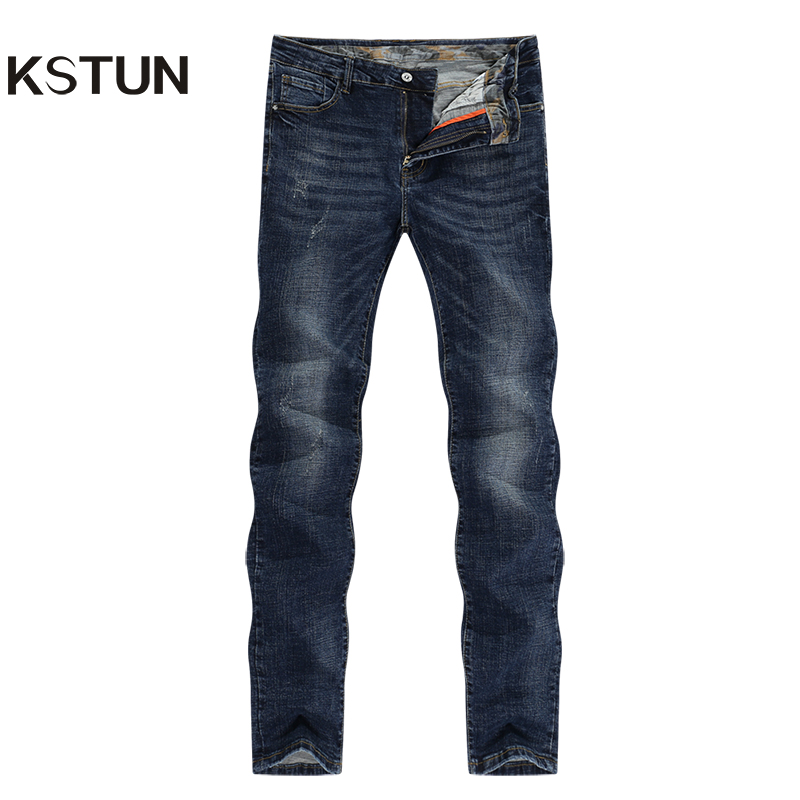 KSTUN Mens Jeans Brand Winter Jeans Dark Blue Slim Straight Stretch Business Casaul Denim Pants Classic Men Jeans Hombre 2019