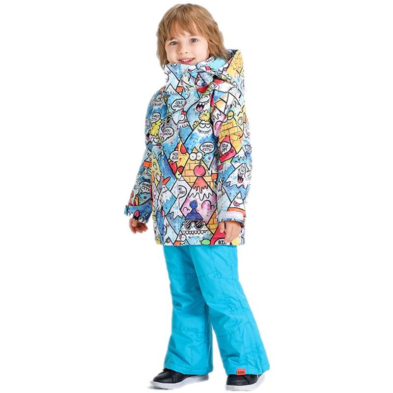 2020 Winter Jacket Snow Pant Boys Ski Suits Kids Children Snowboard Waterproof Combinaison Ski Enfant