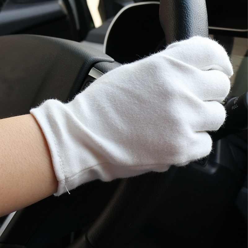 6 คู่ถุงมือสีขาวตรวจสอบถุงมือทำงานถุงมือเครื่องประดับน้ำหนักเบาคุณภาพสูงป้องกันฝุ่นถุงมือลายนิ้วมือ