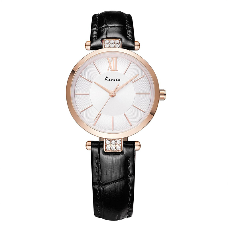 KIMIO Thin Rose Gold Watches Women Fashion Woman Watch 2019 Simple Clock Diamond Casual Dress Quartz Women 39 s Watches Wristwatch in Women 39 s Watches from Watches