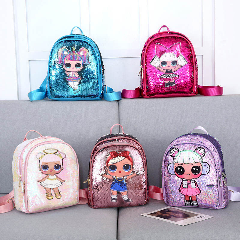 LOL Surprise Doll New Children Sequins Tide Sequins Backpack Double Zipper Small Fresh Cute Bag For Children Festival Gift 2S05