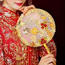Himstory китайский свадебный веер с красной розой искусственные