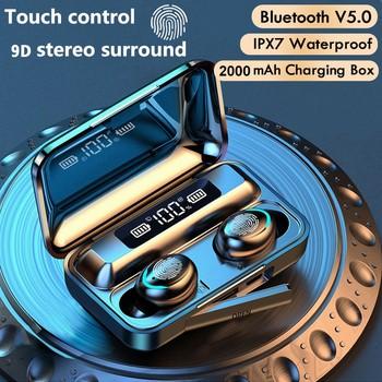 Słuchawki bezprzewodowe tWS Bluetooth 5 0 2200mAh etui z funkcją ładowania 9D stereo sport wodoodporne douszne z mikrofonem tanie i dobre opinie FUYUN Zaczep na ucho Dynamiczny CN (pochodzenie) wireless Do Internetu Bar Monitor Słuchawkowe Do Gier Wideo Wspólna Słuchawkowe