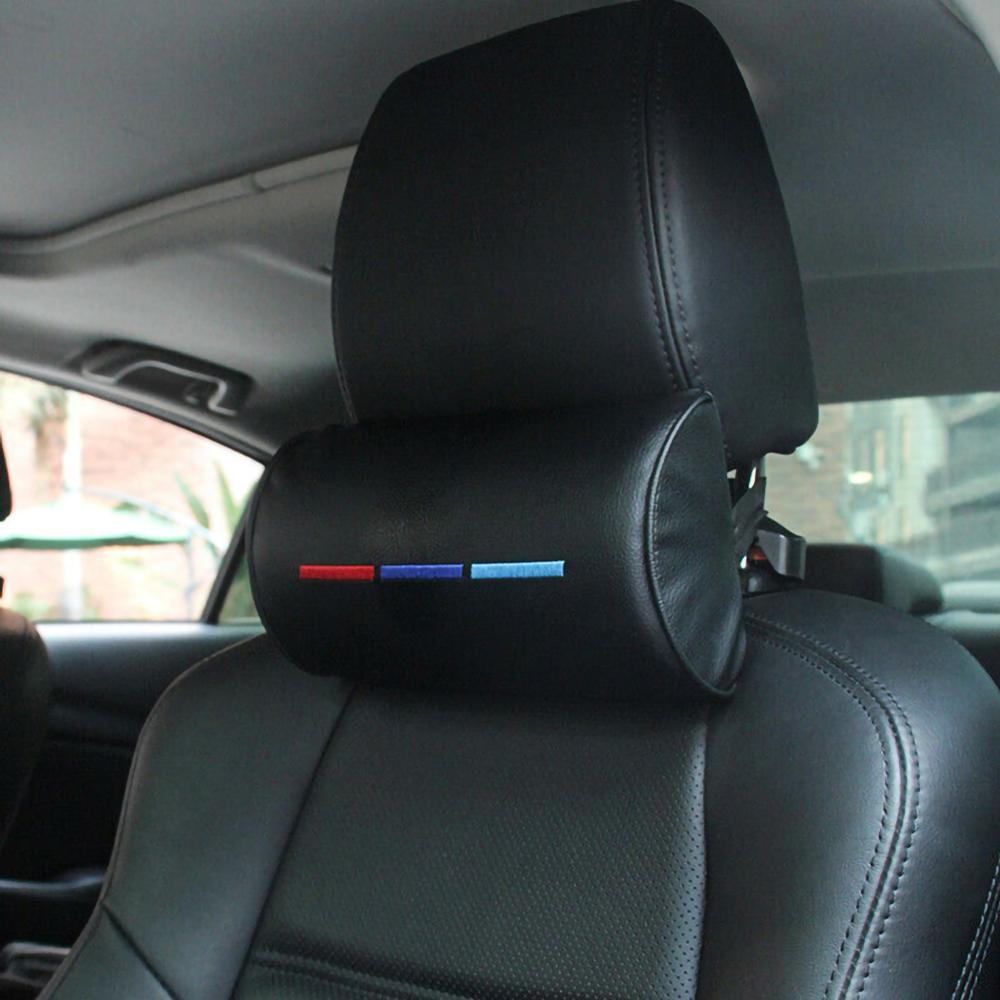 Автомобильная подушка для подголовника под шею для BMW M3 M5 X1 X3 X5 X6 E46 E39, кожаная защитная Подставка под шею для подголовника, Автомобильная под...