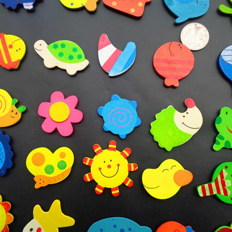 12 pçs do bebê bonito geladeira ímã dos desenhos animados animais de madeira geladeira adesivos criança design educacional presentes decoração para casa