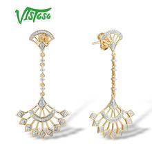 VISTOSO Gold Earrings For Women Genuine 14K 585 Yellow Gold Sparkling Diamond Earrings Engagement Anniversary Fine Jewelry