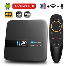 HONGTOP Смарт андроидный телевизионный блок android 10, 2 Гб оперативной памяти, 16 Гб встроенной памяти, tv box 4K 3D видео H.265 медиаплеера голосовой помощ...