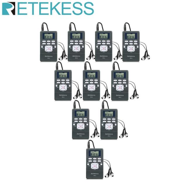10 pces retekess pr13 receptor de rádio fm bolso rádio dsp rádio portátil para grande reunião sistema de interpretação simultânea
