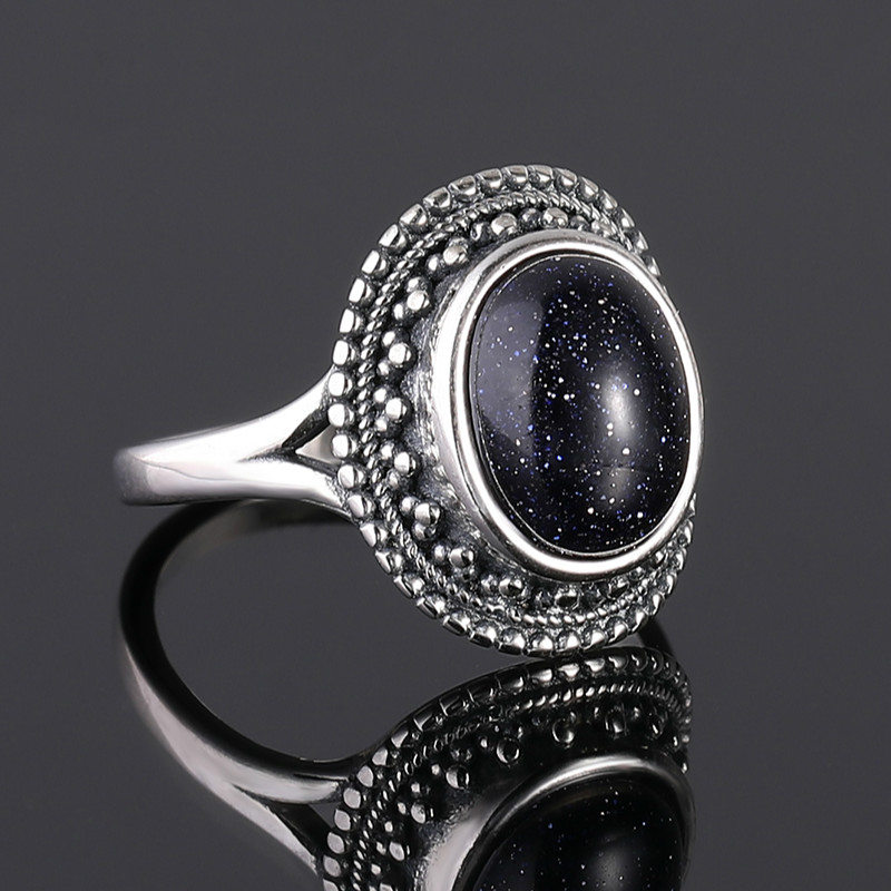 925 Sterling Silver Rings Blue Sandstone Gemstone Rings for Women Wedding Bands Anniversary Gift Fine Jewelry