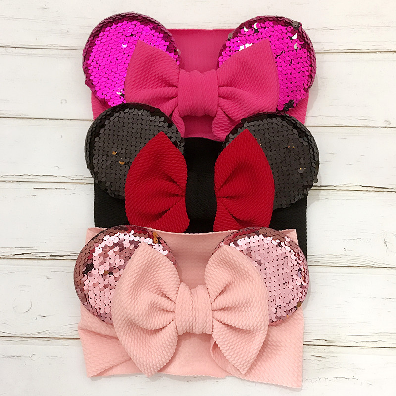 Baby Girl Headbands New Baby Infant Headband With Minnie Ears Bandeau Bebe Fille Baby Headband Hair Accessories Turbante Bebe