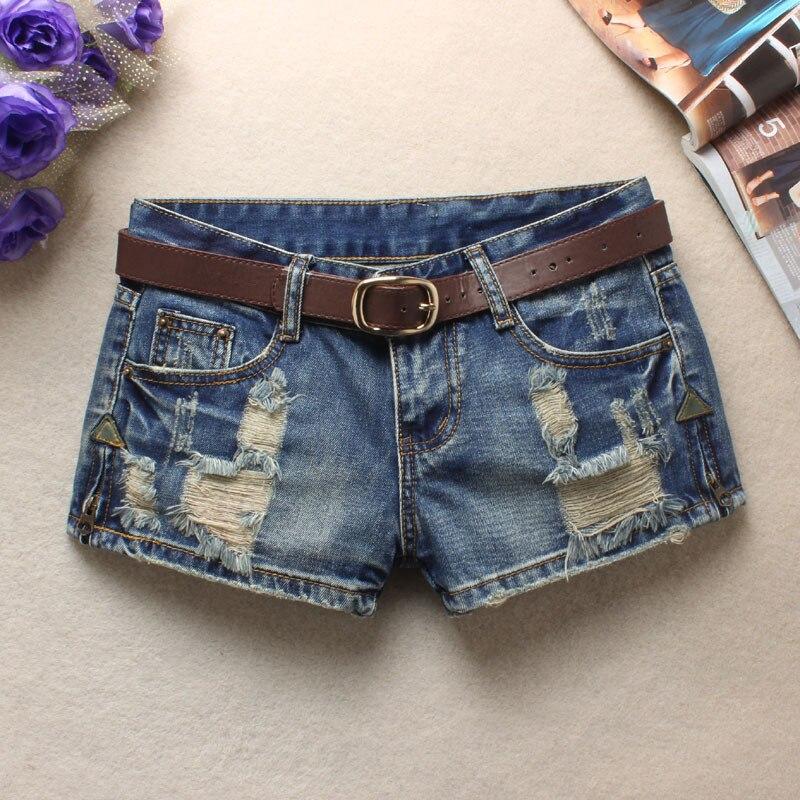 Women Sexy Mini Shorts Rivet Holes Jeans Low Waist Shorts Without Belt Ripped Denim Short 23