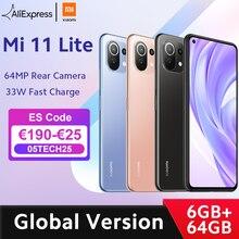 В наличии глобальная версия Xiaomi Mi 11 Lite Смартфон Snapdragon 732 Octa Core 6 ГБ оперативной памяти, 64 Гб встроенной памяти, 64MP тыловая камера NFC 157 г свет