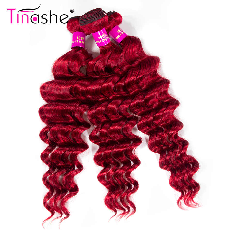 Tinashe Haar Rode Bundels Braziliaanse Haar Weefsel Bundels Remy Menselijk Haar Losse Diepe Golf Bundels Gekleurde Bourgondië 3 Bundels