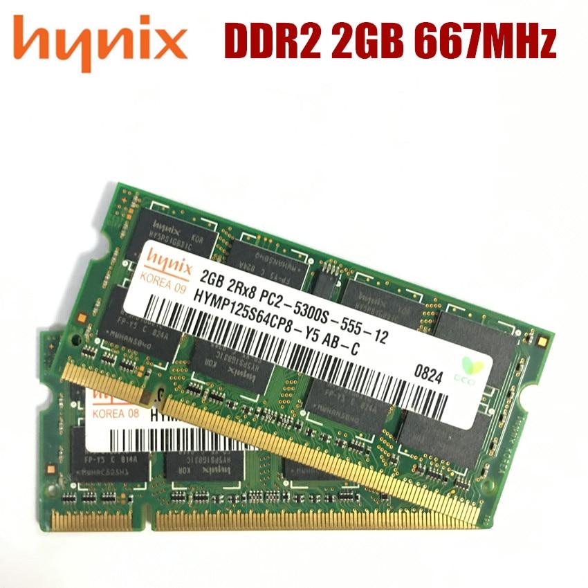 Hynix чипсет DDR2 2GB 2Rx8 PC2-5300S Laptoop RAM 2G DDR2 667MHz PC2 5300S память для ноутбука
