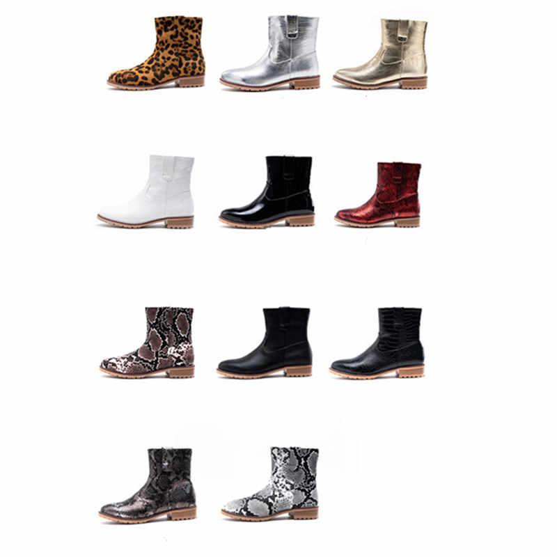 Prova Perfetto Baskı Yılan Pu Kadın yarım çizmeler Zip Sivri Burun Ayak Ayakkabı Kalın Yüksek Topuklu Kadın Çizmeler Kadın 2020 Yılan Derisi Çizme