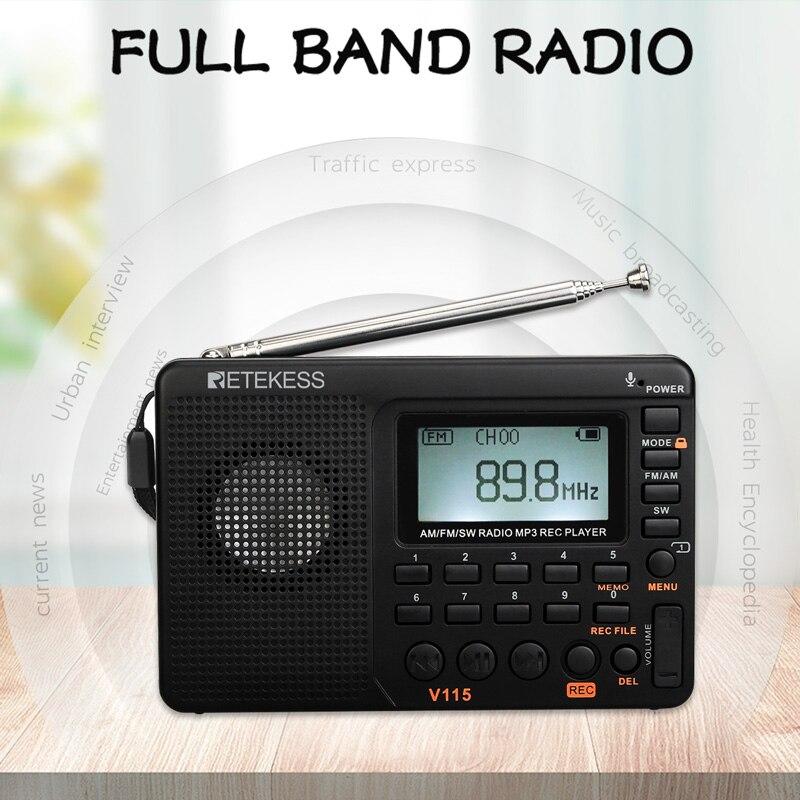 Retekess V115 FM/AM/SW récepteur de Radio basse son lecteur MP3 REC enregistreur Radio Portable avec minuterie de sommeil TF carte poche Portable