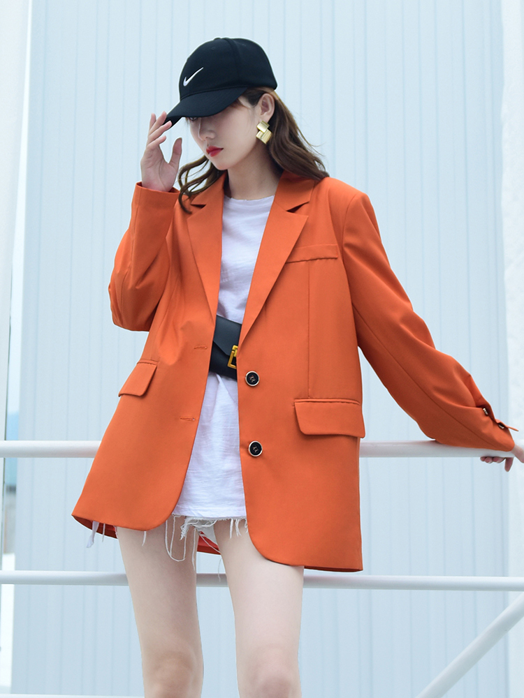Korean Casual Ladies Blazer Loose Solid Green Stylish Suit Jacket Long Sleeve Abrigos Vintage High Street Women Blazer MM60NXZ