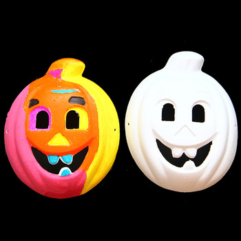 5PCS/Lot 17x22cm Pulp pumpkin mask Paint unfinished Halloween mask Kindergarten DIY handmade material kid arts and crafts OEM