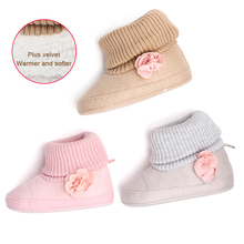 Cute Winter Newborn Baby Girl Shoes Infant Toddler Warm Snow Boots With Pink Floral Baby Ankle Girls First Walkers