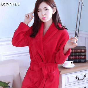 Image 3 - Robes Women Winter Sleepwear Thicken Long Bathrobe Womens Flower Flannel Kimono Nightwear Warm Soft Full Sleeve Print Cartoon