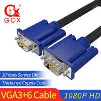 GCX VGA câble mâle à mâle 15Pin Full HD 1920*1080P VGA3 + 6 rallonge ordinateur câble 1.5m 3m 5m 10m 15m 20m 25m 30m
