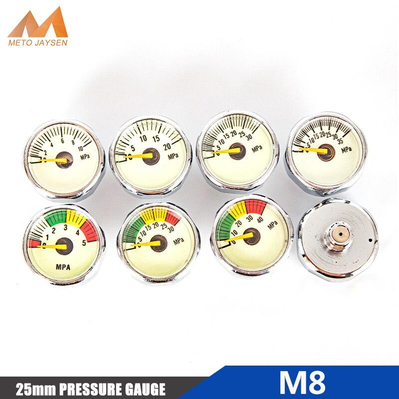 PCP Paintball Pump Valve 25mm M8x1 Thread Inch Mini Pressure Gauge Scuba Manometre 5mpa 10mpa 20mpa 30mpa 35mpa 40mpa