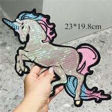 1 pçs animais dragão unicórnio brilhante bordado costurar em remendos applique crachá artesanato diy para crianças roupas calças adesivo
