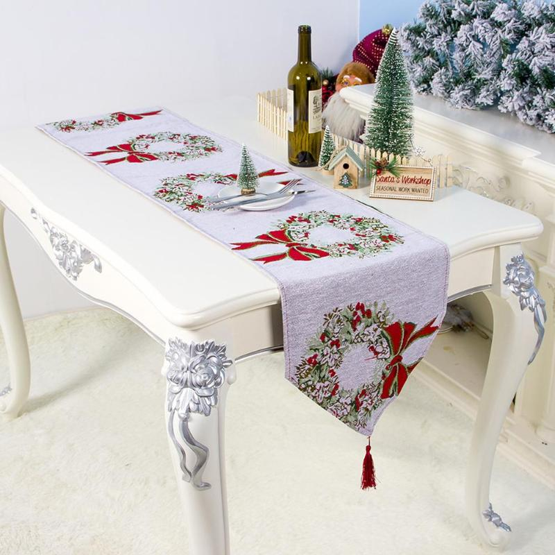 180x35cm Christmas Table Runner Cotton Linen Tapestry Santa Table Runners Decoration White Snowflakes Embroidered Home Decor
