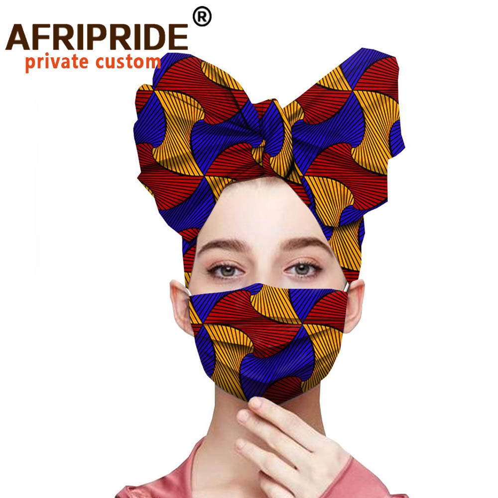 African Print Headwarp And Mouth Mask Reusable Washable Breathable Running Facemask Anti Dust Windproof Air Purifying Face Mask